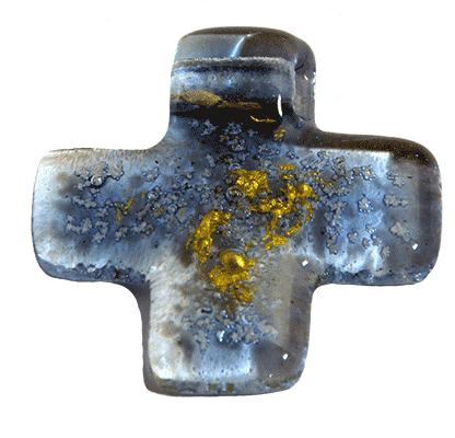 Kreuz Anhänger blau 1